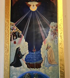Lake Arrowhead artists paints Divine Mercy icon for parish